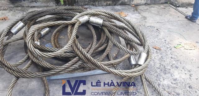 Sling cáp thép bấm chì D38, Cáp thép thông thường, Cáp thép bấm chì, Dây cáp, công ty TNHH Lê Hà Vina, mua Sling cáp thép bấm chì D38